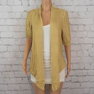 Anthropologie gold yellow open cardigan